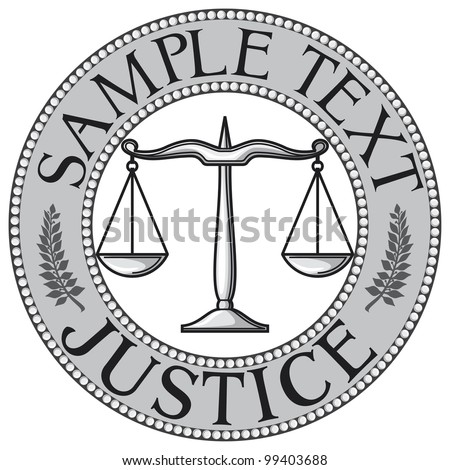 scales of justice seal (symbol) - stock photo