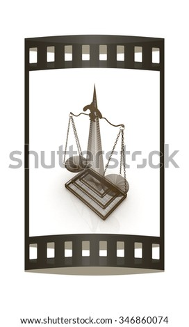 scales of justice. The film strip - stock photo