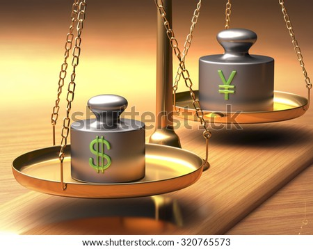 Scales of justice weighing two currencies. Clipping path included.