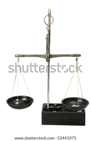 Scales on a white background close up - stock photo
