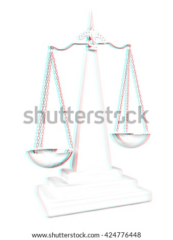 Scales on a white background. Pencil drawing. 3D illustration. Anaglyph. View with red/cyan glasses to see in 3D. - stock photo