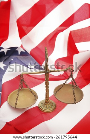 Scales on American Flag - stock photo