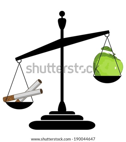 Scales silhouette - healthy lifestyle vs. smoking - illustration
