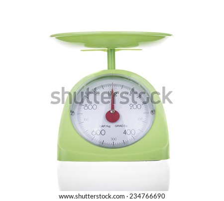 Scales used in cooking on white background