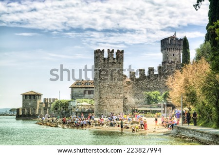 Scaliger Castle in Sirmione at the Lago di Garda in Italy in historically and playful architecture - stock photo