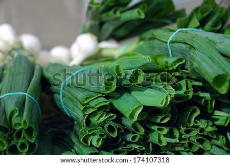 Scallion at vegetable market - stock photo