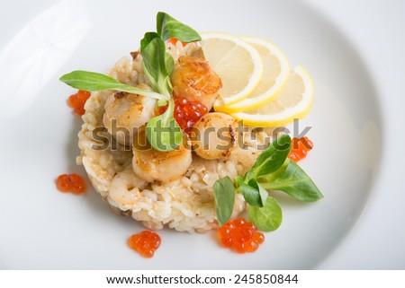 Scallop and risotto - stock photo