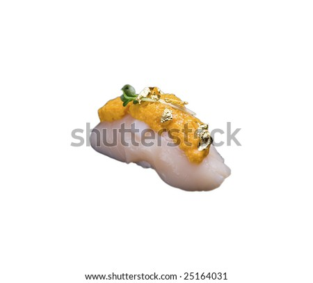 Scallop sushi with Sea urchin - stock photo