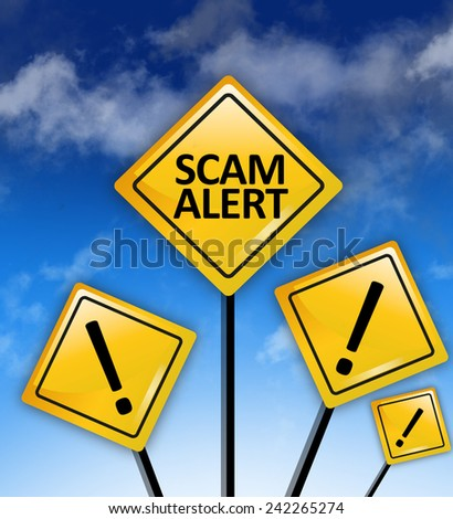 Scam alert ahead concept - stock photo