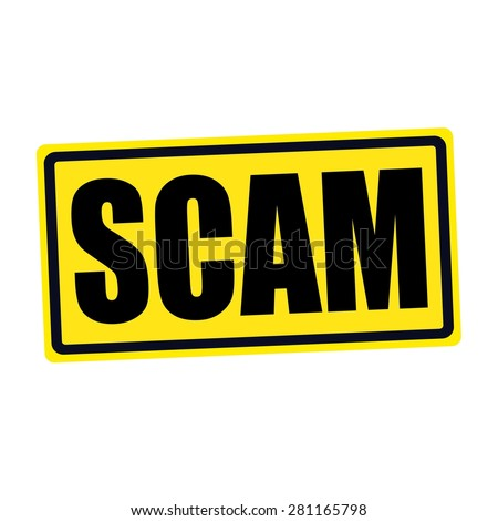 SCAM black stamp text on yellow - stock photo