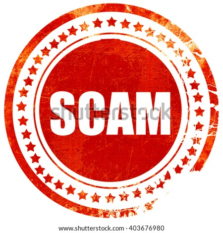 scam, grunge red rubber stamp on a solid white background - stock photo