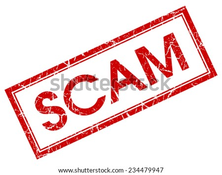 scam red square stamp isolated on white background