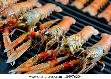 Scampi prepared for grilling - stock photo