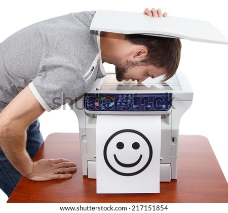 Scan of male smile in copier - stock photo