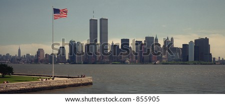 Scan of medium format's original negative shot in New York in May 1999, view of WTC towers -  VERY NOISY - stock photo