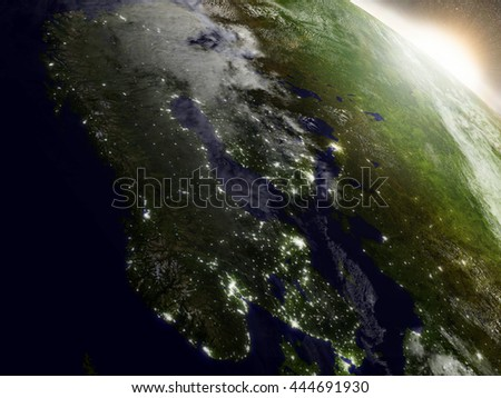 Scandinavia during sunrise as seen from Earth's orbit in space. 3D illustration with highly detailed realistic planet surface, clouds and city lights. Elements of this image furnished by NASA. - stock photo
