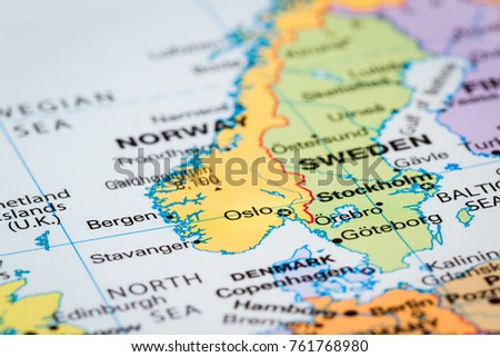 Scandinavia On World Map Oslo Norway Stock Photo Royalty Free