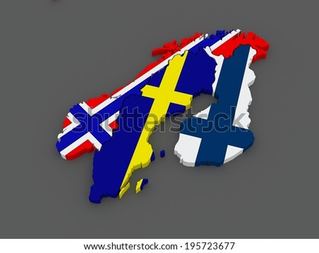 Scandinavia. Sweden, Norway and Finland. map. 3d