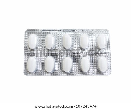 Scandinavia, Sweden, Stockholm, Blister pack of pill against white background, close-up - stock photo