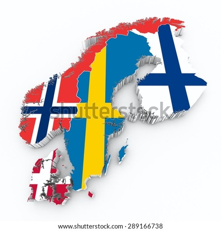 scandinavian flags on 3d map  - stock photo