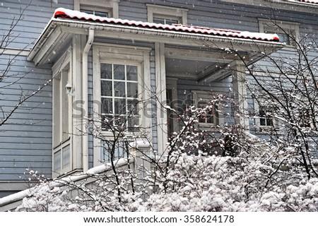 Scandinavian house on winter - stock photo