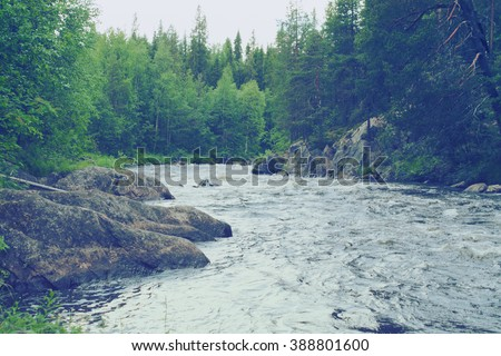 scandinavian landscape - rapids on the river in Karelia, Rusian Federation