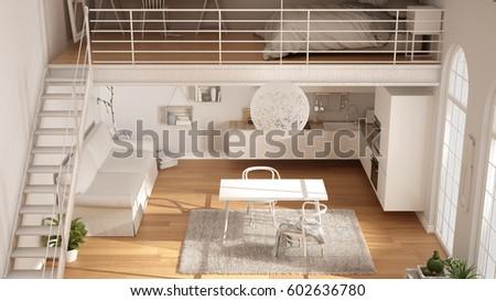 Scandinavian Minimalist Loft Oneroom Apartment White Stock ...