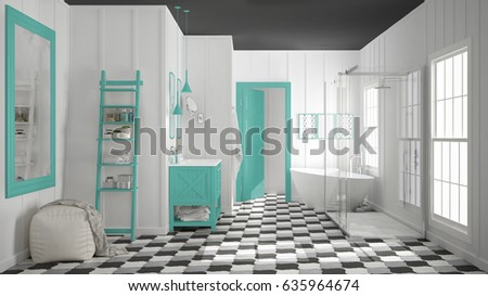 Scandinavian Minimalist White, Gray And And Turquoise Bathroom, Shower,  Bathtub And Decors,