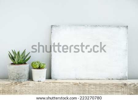 scandinavian or american style room interior with painted frame background for text - stock photo