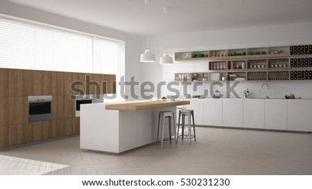 Scandinavian white kitchen, minimalistic interior design, 3d illustration