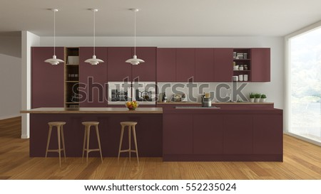 Scandinavian white kitchen with wooden and red details, minimalistic interior design, 3d illustration