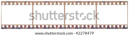 scanned film strip with clipping paths - stock photo