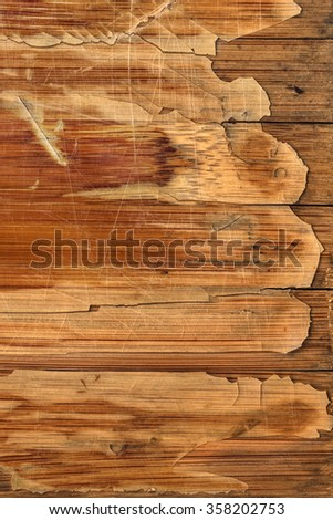 Scanned Image of an Old Weathered Varnished Blockboard Cracked Scratched Peeled Off Grunge Texture.