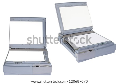 scanner in two positions under the white background
