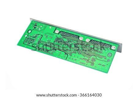 Scanner motherboard board, isolated on white background - stock photo