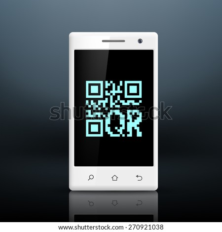 scanning qr code on the screen of your smartphone - stock photo