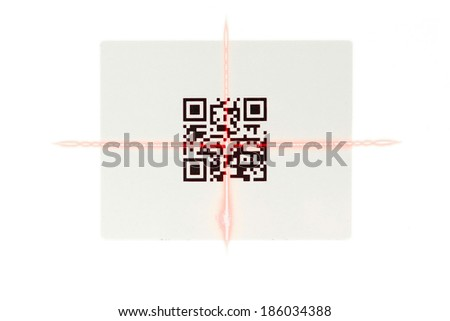 scanning quick response code  label  with laser isolated - stock photo