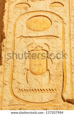 Scarab hieroglyph in the Temple of Queen Hatshepsut in Egypt - stock photo