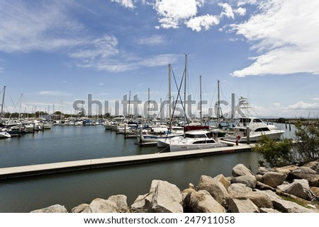 SCARBOROUGH, AUSTRALIA - JANUARY 19, 2015: Scarborough Marina is an all-weather and all-tide access marina located in SE Queensland. - stock photo