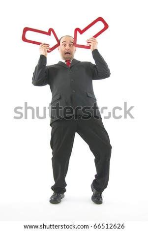 Scare businessman which go bankrupt,two reds arrow keys retaining near head, on white background.