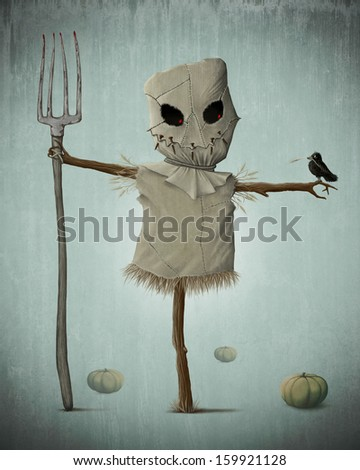 Scarecrow and pumpkins for halloween creepy night - stock photo