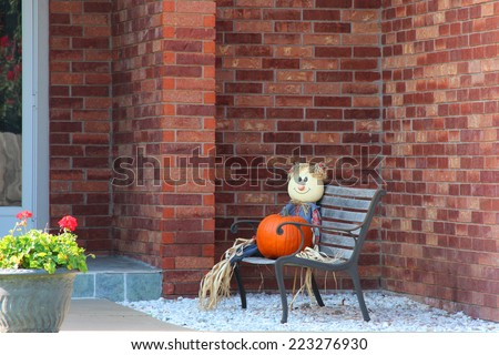 Scarecrow decorations for upcoming Halloween - stock photo