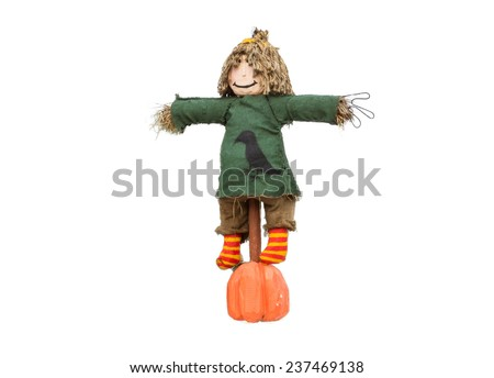 scarecrow dressed in colorful rag clothes. white background - stock photo