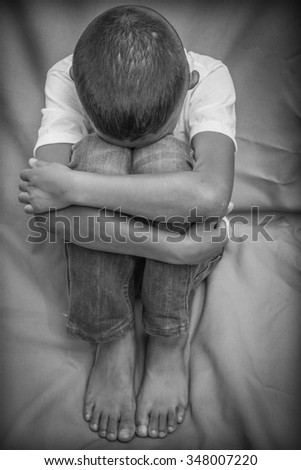 scared and alone - stock photo