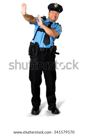 Scared Asian man with short black hair in uniform defending with body - Isolated