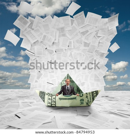 Scared businessman in money boat under huge wave of documents