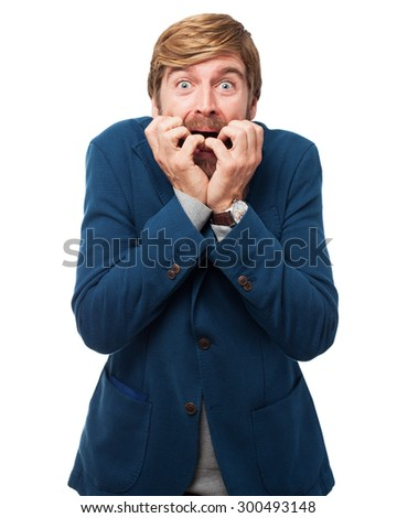 scared businessman worried concept - stock photo