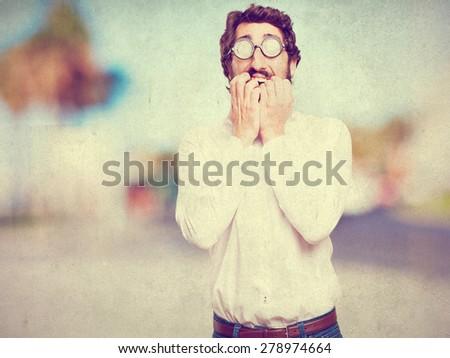 scared fool man - stock photo