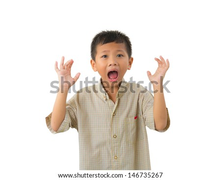 Scared litle kid holding hands and screaming isolated on white background