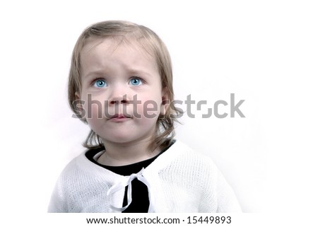 Scared little baby girl, isolated